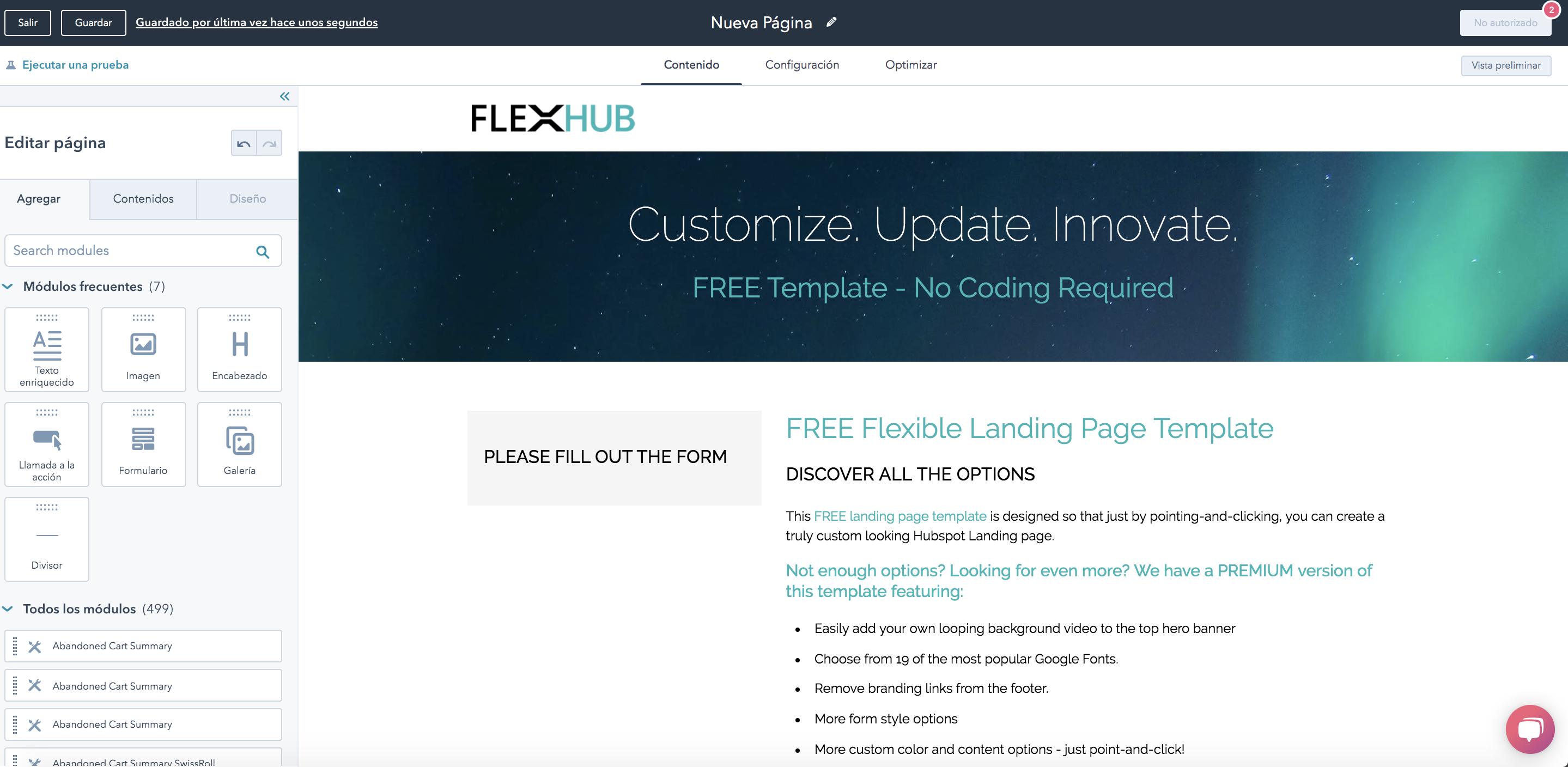 Landing page creator de HubSpot