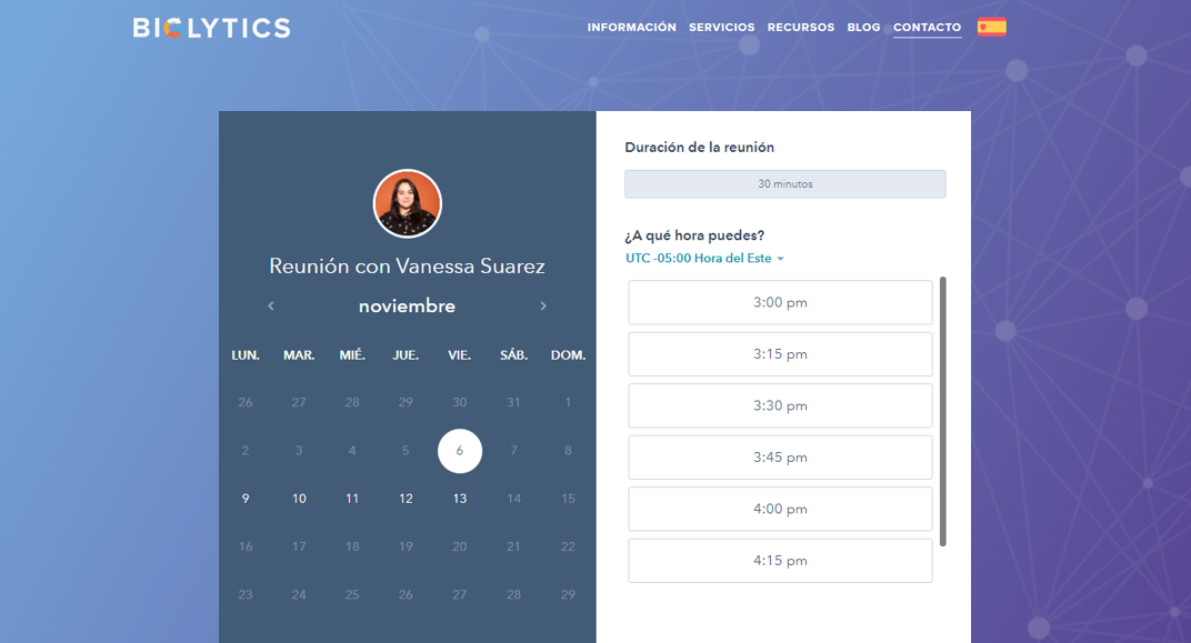 Meeting scheduler: programa de citas de HubSpot