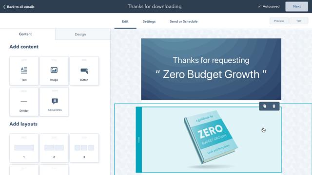 Software de email marketing: creación de emails con función drag-and-drop