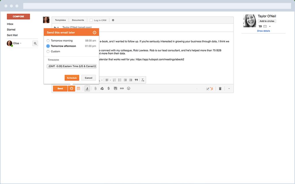 Programar envío de correo desde Gmail con HubSpot