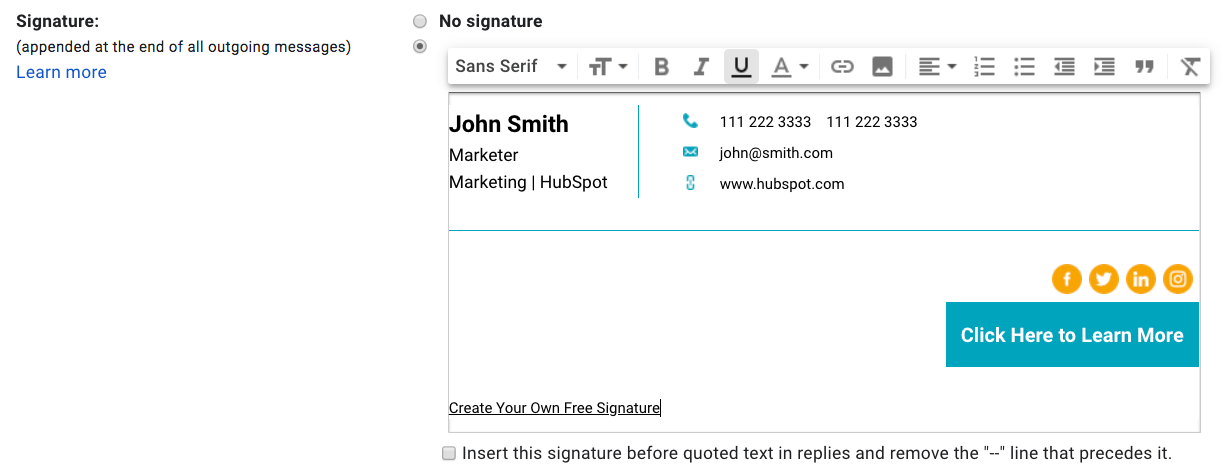EN Email Signature in Gmail