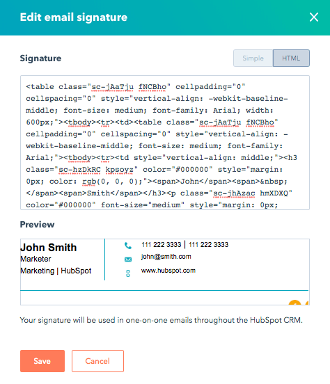 EN Email Signature in HubSpot