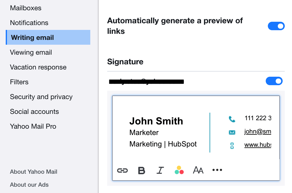 EN Email Signature in Yahoo