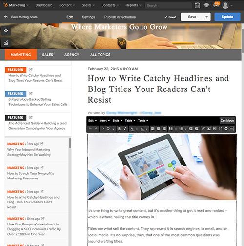 Software de Publicación en blogs de HubSpot