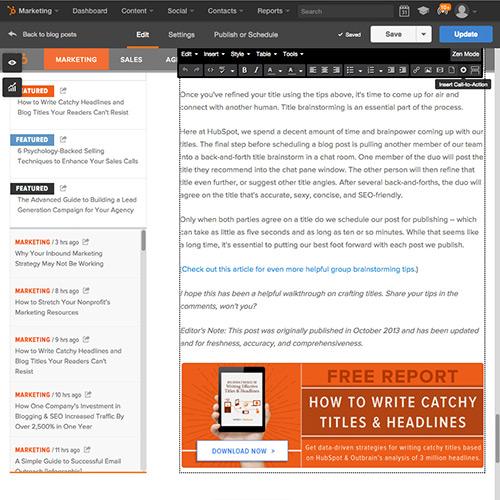 Software de Publicación en blogs de HubSpot - Agregar llamadas a la acción con facilidad