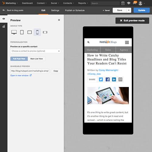 Software de publicación en blogs de HubSpot - Optimizado automáticamente para los dispositivos móviles
