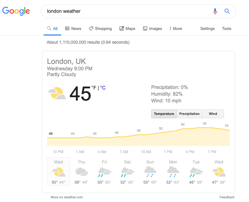 Captura de pantalla de un resultado de búsqueda para «clima Londres»