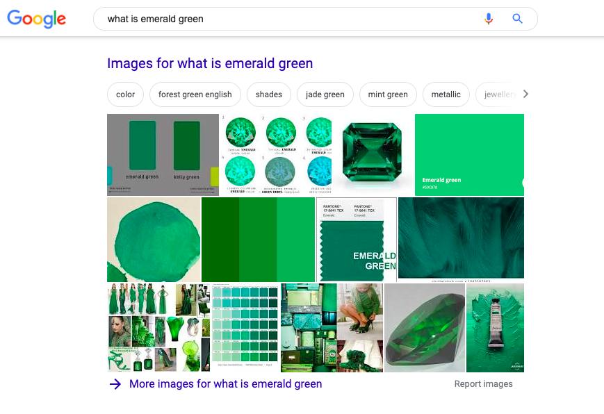 Resultado de la búsqueda de Google para «cómo es el verde esmeralda»