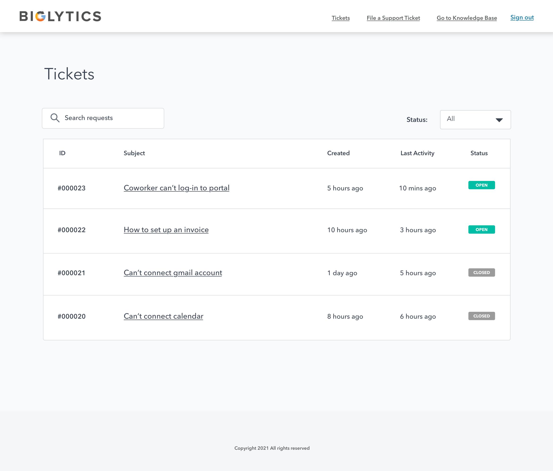 Portal de clientes: página de índice de tickets