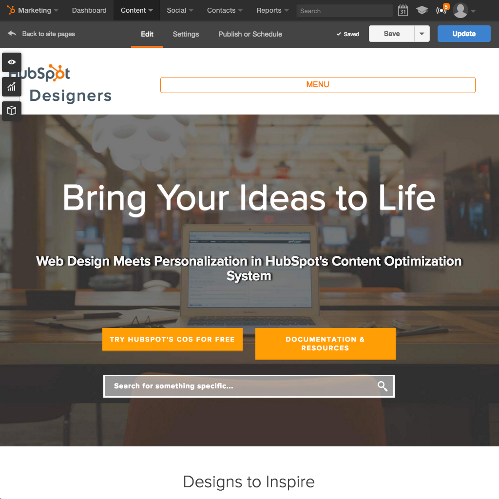 Plataforma de Sitios web de HubSpot - Crear un sitio web fácil de usar que funcione correctamente