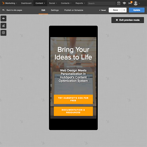 Plataforma de Sitios web de HubSpot - Optimizar automáticamente tu sitio web para dispositivos móviles